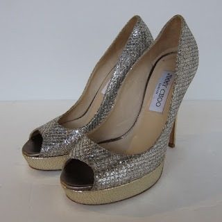 Jimmy Choo Metallic Peep Toes