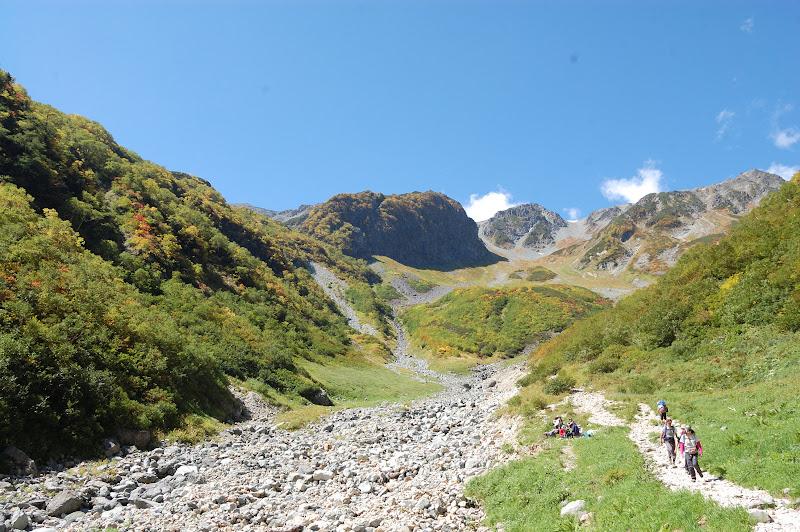 槍沢の登山道