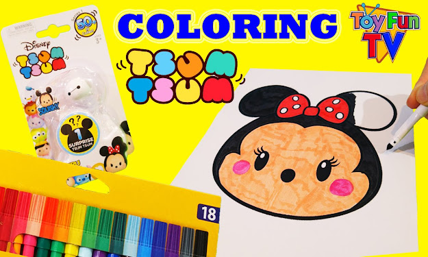Disney Tsum Tsum Coloring Page  Surprise Pack Opening Minnie Mouse  Surprise Toys