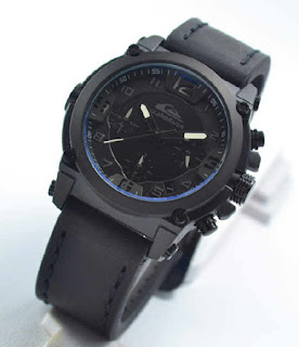 jam tangan Quiksilver chrono aktif 4lady black leather white
