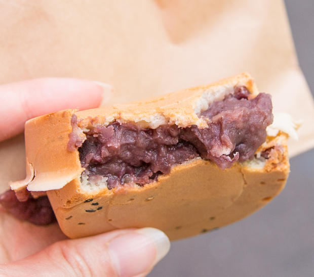 close-up photo of a Red Bean Filled Pancake