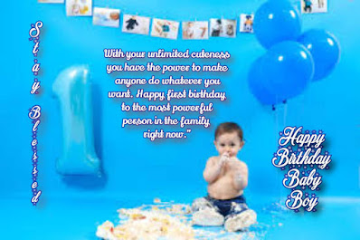 First birthday greeting for boy, boy enjoying birthday cake, Happy birthday quotes for kids.