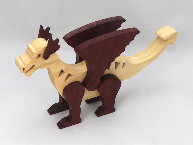 Handmade Wood Dragon Made From Poplar and Walnut Hardwoods 981059690