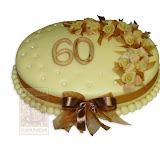 39. kép: Ünnepi torták - Rózsás barna szalagos ünnepi torta