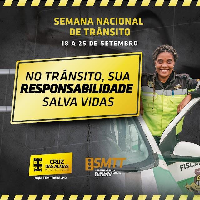 Cruz das Almas: Semana Nacional do Trânsito: Prefeitura prepara ações de conscientização para um trânsito seguro