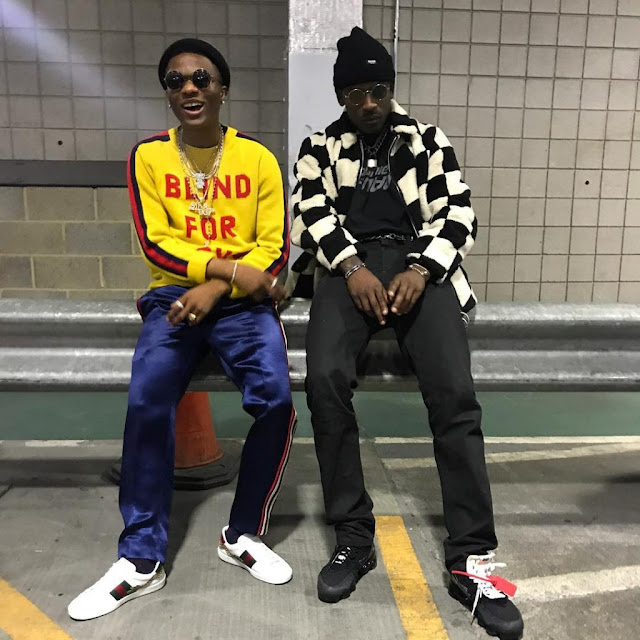 Wizkid Poses With Rapper Skepta As He Arrives London On A Special Tour With Future