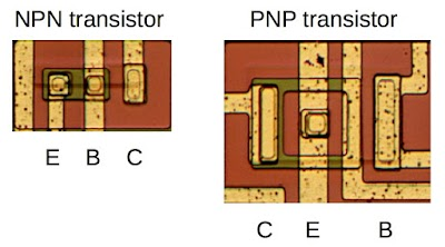 Two transistors as they appear on the die of the 76477, showing the Emitter, Base, and Collector.