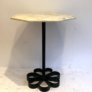 Stone-Top Pedestal Side Table
