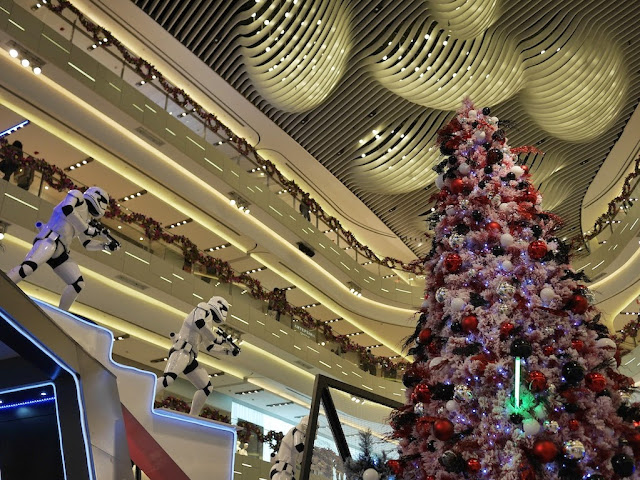 Star Wars display and Christmas tree at the IAPM shopping center in Shanghai