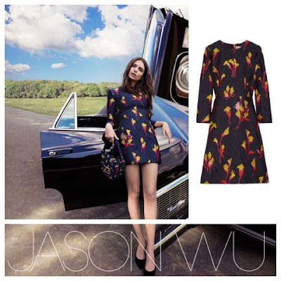 Emily Ratajkowski for Jason Wu Campaign in Floral Jacquard Dress