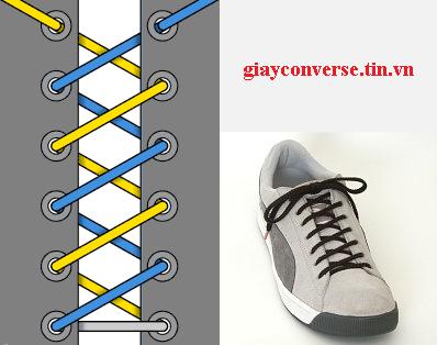 Cách buộc dây giày Converse kiểu xoắn ốc kép