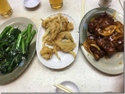 dishes: fried choy sum, fried mini fish, marinated rib
