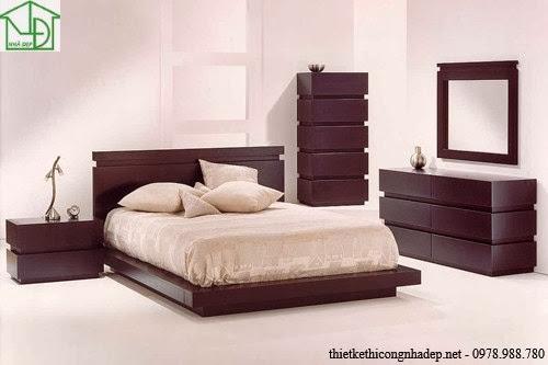 Giường ngủ với tab đầu giường cách điệu