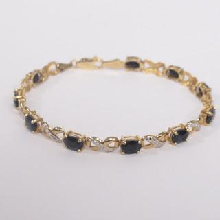 14K Gold, Obsidian, and Diamond Bracelet