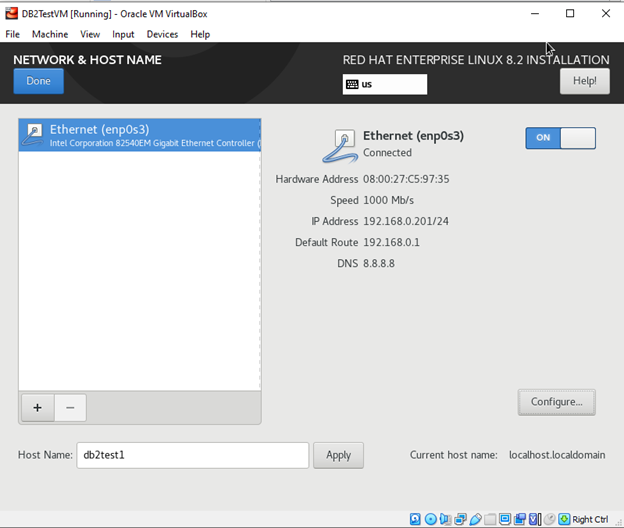 RHEL 8.2 Installation Network & Host Name screen