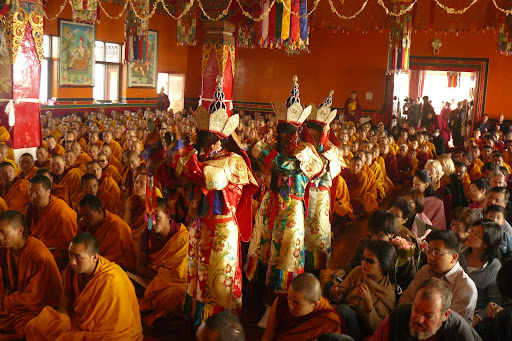 Dakinis enter long life puja for Lama Zopa Rinpoche, Kopan Monastery December, 2008.