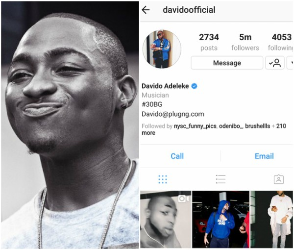 Davido Becomes The Most Followed Nigerian Celebrity On Instagram (Photos)