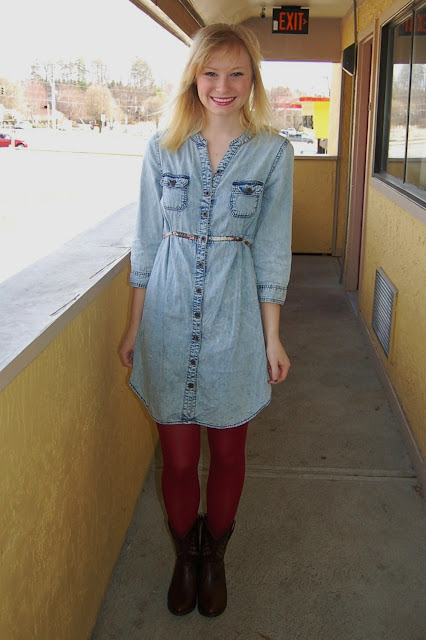 Denim Shirtdress + Red Tights | Organized Mess