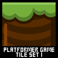 Cartoon Platformer Game Tile Set