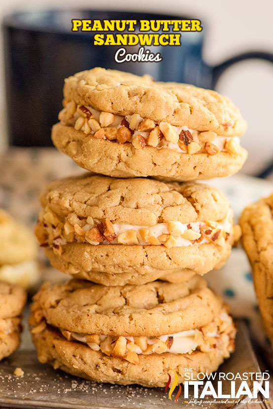 Peanut Butter Sandwich Cookies stacked
