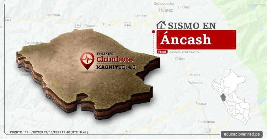 Temblor en Áncash de Magnitud 4.0 (Hoy Jueves 27 Mayo 2021) Sismo - Epicentro - Chimbote - Santa - IGP - www.igp.gob.pe