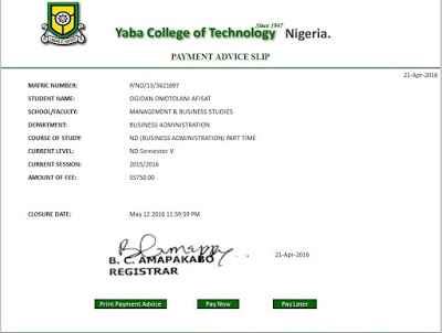 The Yabatech Payment Advice Is Not Out Yet But This Is The Sample...Tho  This Is Last Year Payment Advice Slip  Payment Advice Slip