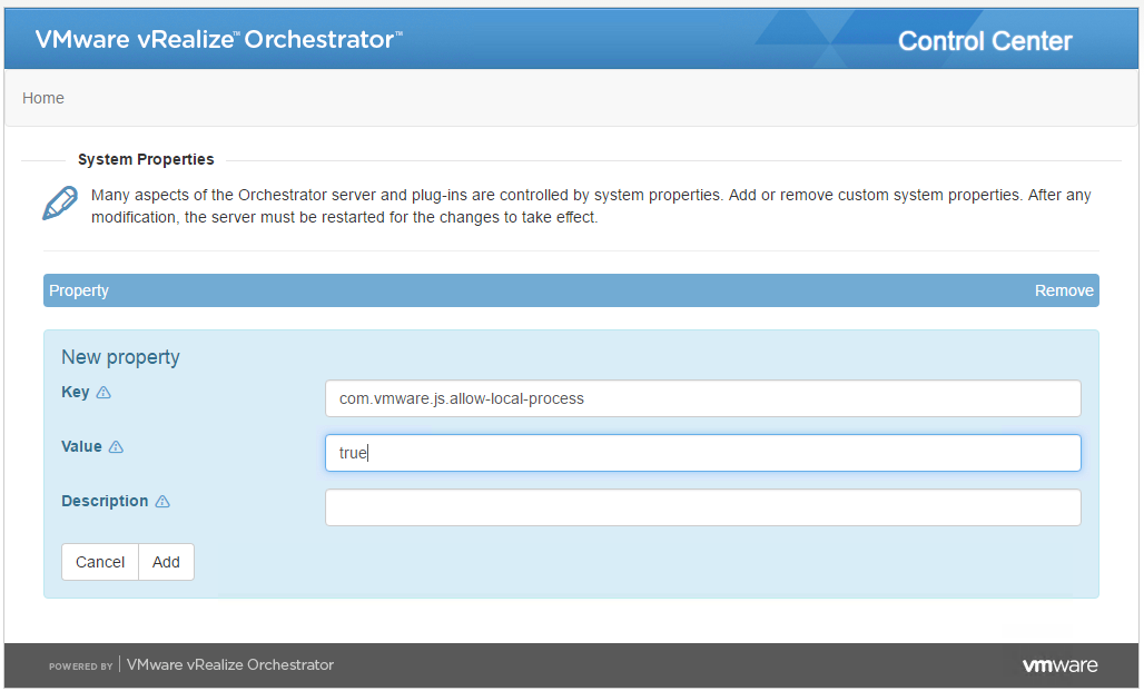 vRO 7 # - Enabling local script or command execution in vRealize