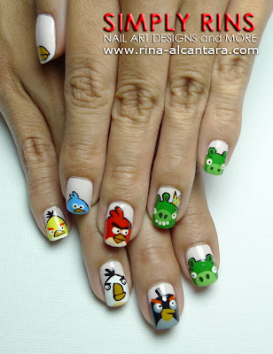 Angry Birds Again Nail Art by Simply Rins
