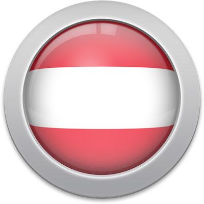 Austrian flag icon with a silver frame
