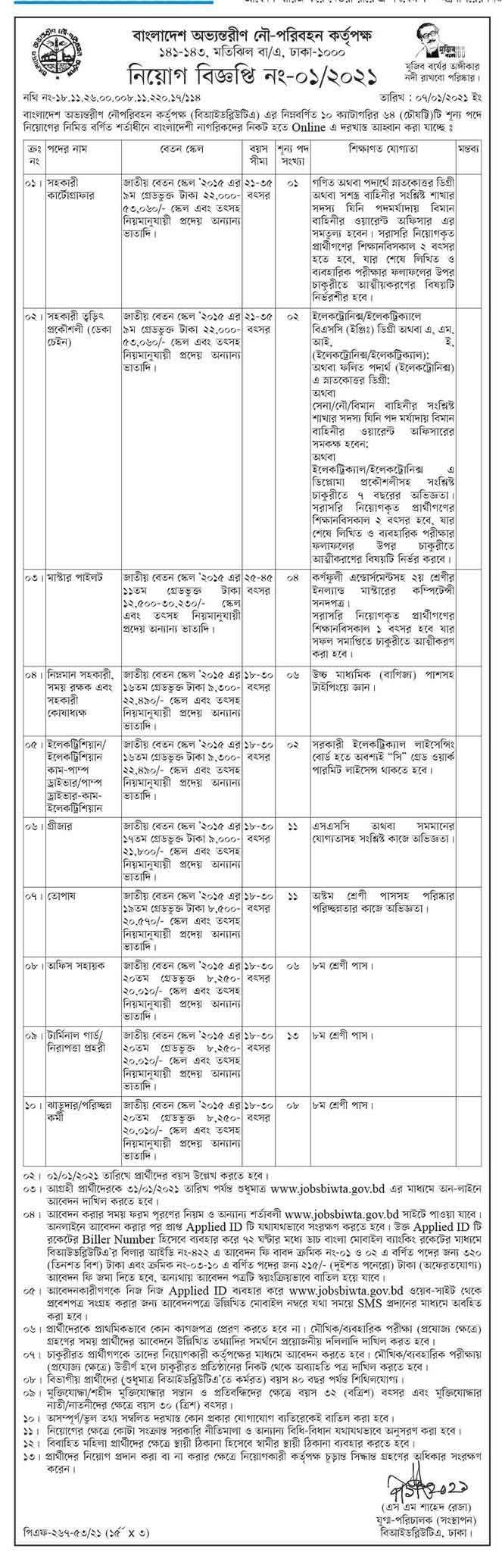 বাংলাদেশ অভ্যন্তরীণ নৌ-পরিবহন কর্পোরেশন (বিআইডব্লিউটি) নিয়োগ বিজ্ঞপ্তি ২০২১ - Bangladesh Inland Water Transport Corporation BIWTC Job circular 2021
