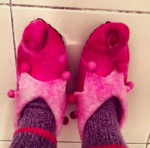 Pink wool jester slippers
