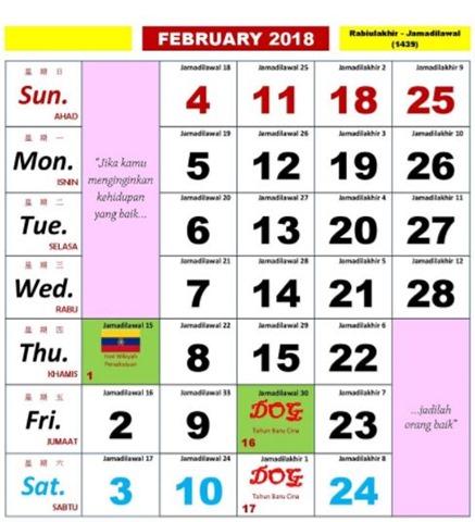 Kalendar Kuda Februari 2018