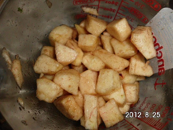 Peel and chop apples into small bite size pcs. Add 1 Tbs. of brown...