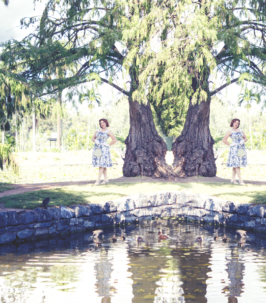 By the lilly pond ~ wearing a 1950's inpired ensemble | Lavender & Twill