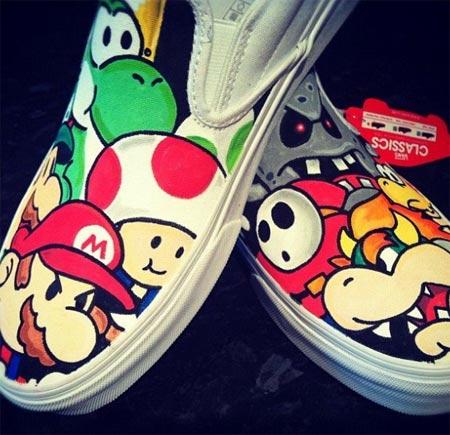Tênis Vans customizados com personagens de desenhos animados - Mario Bros