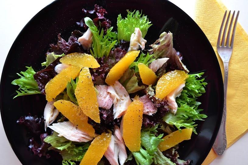Smoked trout, orange, rocket salad
