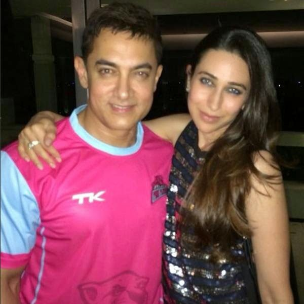 Aamir Khan and Karisma Kapoor at Karan Johar's party, organised at his residence, on July 26, 2014.