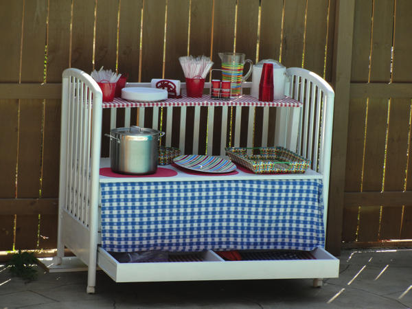Outdoor picnic entertainment center from crib
