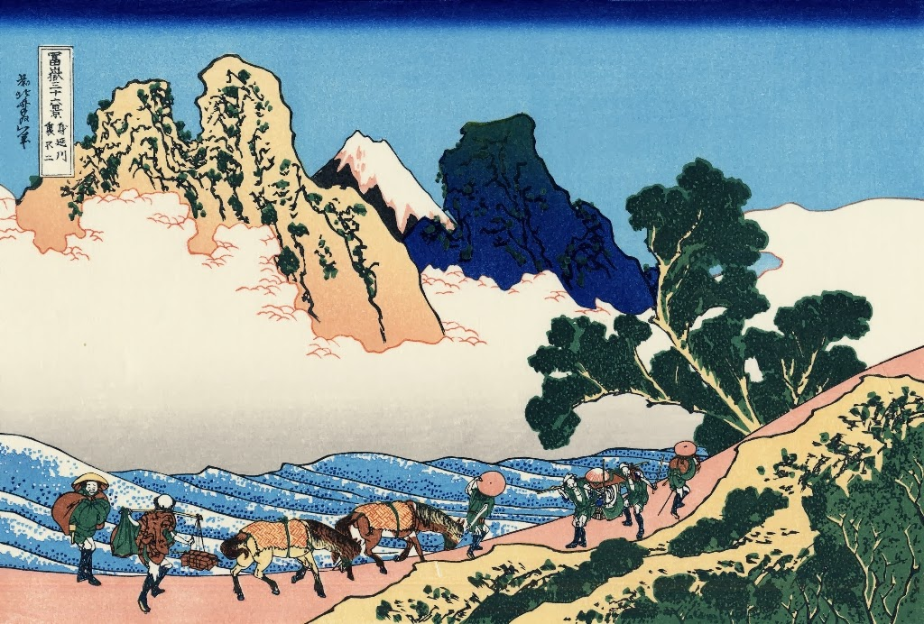 Katsushika Hokusai - The back of the Fuji from the Minobu river