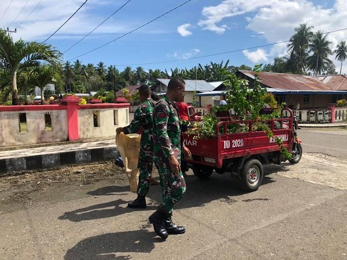 Satgas Pamrahwan Yonif Raider Khusus 732/Banau melaksanakan kerja bakti di desa wayabula kec Morotai Selatan barat