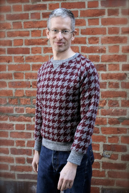 Men's houndstooth sweaters made with wool knit fabric from Mood Fabrics