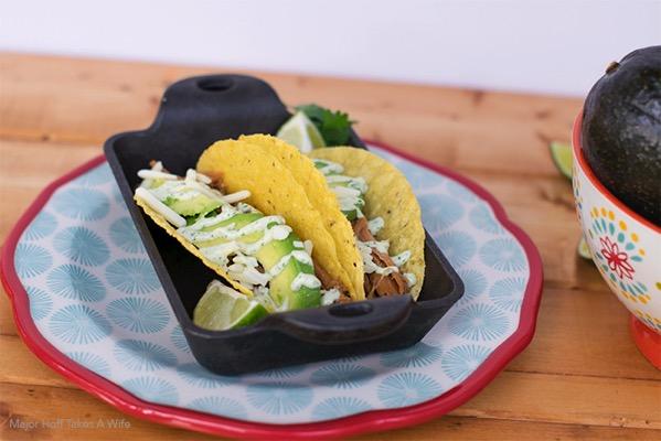 cilantro pork tacos with avocado