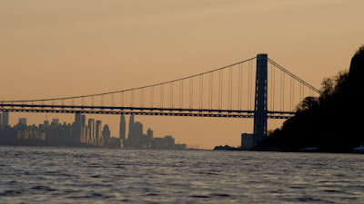 George Washington Bridge and city from Palisades.