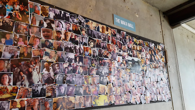 The Waka Wall of photos at Mojo on Bond Street (Wellington, NZ)