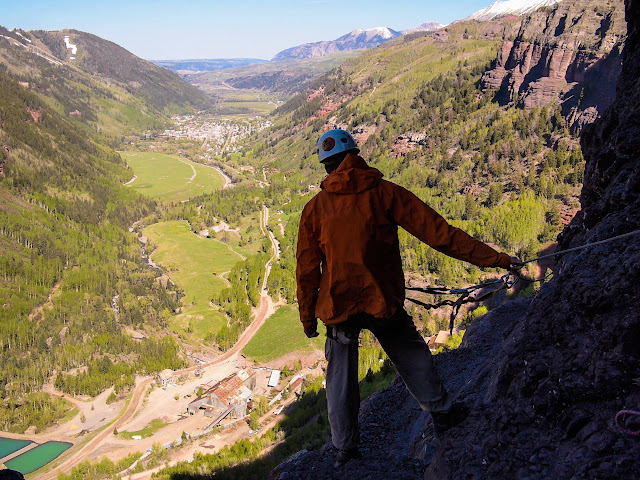 Looking upon the town of Telluride from the approach trail