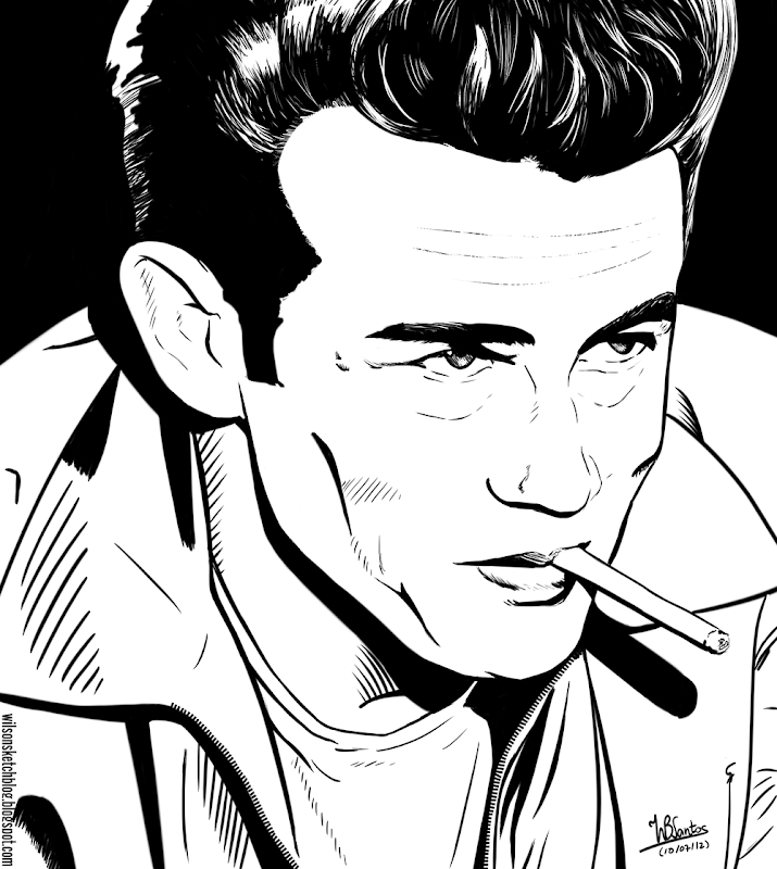 Comic book style portrait of James Dean, using Krita 2.5 Beta.