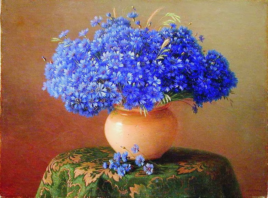 Gavril Kondratenko - Still life with cornflowers