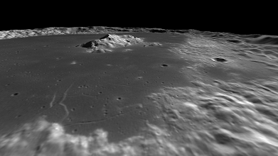 Photo: Tsolkovskiy crater, on the lunar far side, with an outstanding central peak.