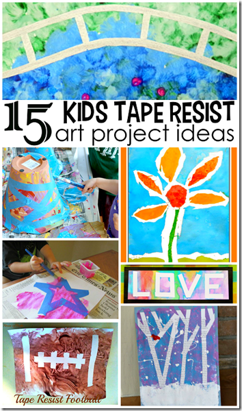 15 tape resist crafts for kids - so many creative, fun crafts for kids to do using tape and paint!