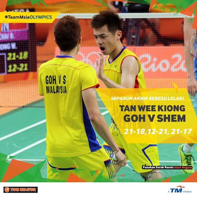 Beregu lelaki Goh V Shem & Tan Wee Kiong mara ke final #Rio2016